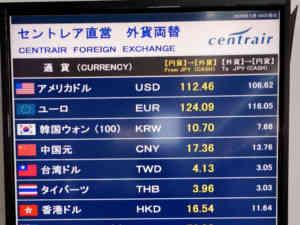 セントレア直営両替店の両替レート